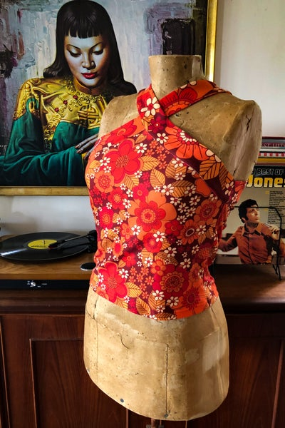 Image of Disco dancer top in Flower power red