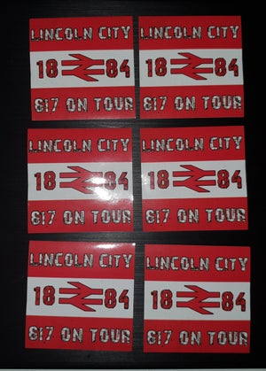 Lincoln City 617 on tour football/ultras stickers pack of 25 7x7cm.