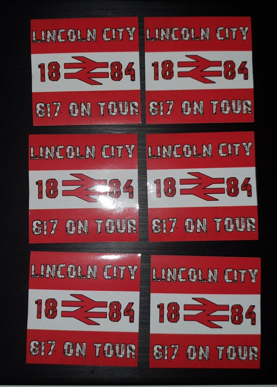 Image of Lincoln City 617 on tour football/ultras stickers pack of 25 7x7cm.