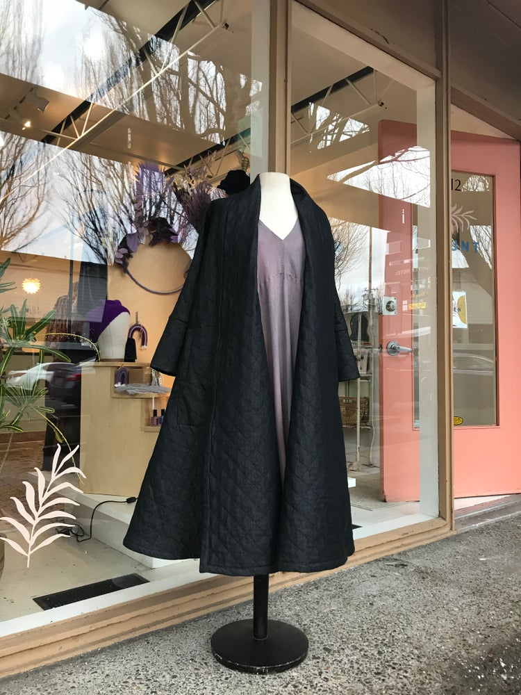 Image of Quilted Matte Black Cotton Swing Coat