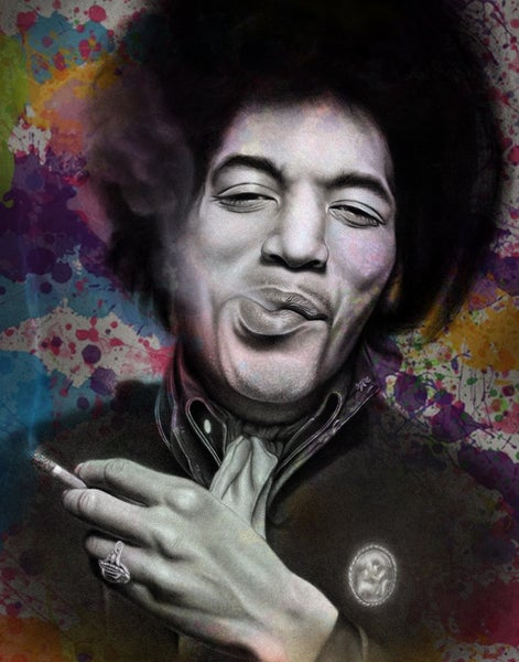 Image of Jimi Hendrix hand-embellished prints