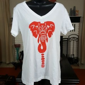 Image of Red and White Elephant Tee