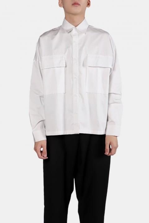 Image of IMMENSE - 雙口袋短版襯衫 (白)