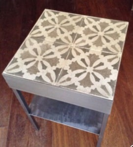 Image of Gaudi bedroom rescued hydraulic tile night stand