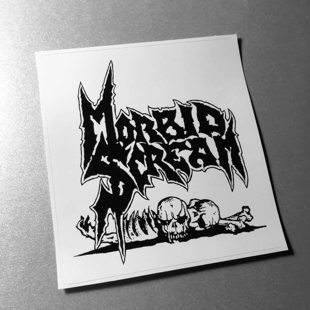 Image of Morbid Scream -  Logo 1 Sticker Black On White 4 x 4