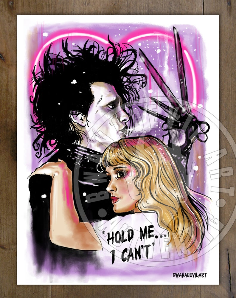 Image of Edward and Kim (Hold me...) small art print *Limited Edition*