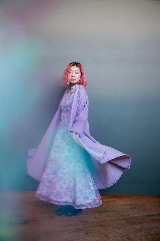 Image of Lavender Denim Swing Coat