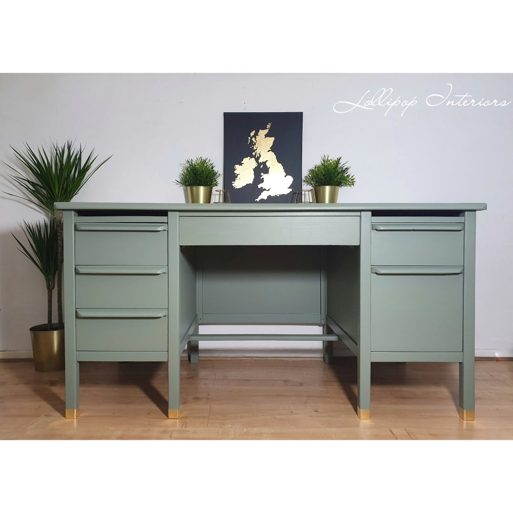 Image of Retro mid century desk in sage and gold