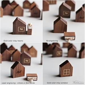 Image of House ring box, secret pocket size ring box, tiny wooden ring box
