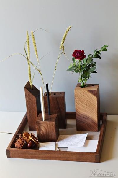 Image of Elegant interior decoration - set of 4 modern vases on tray - Christmas decoration