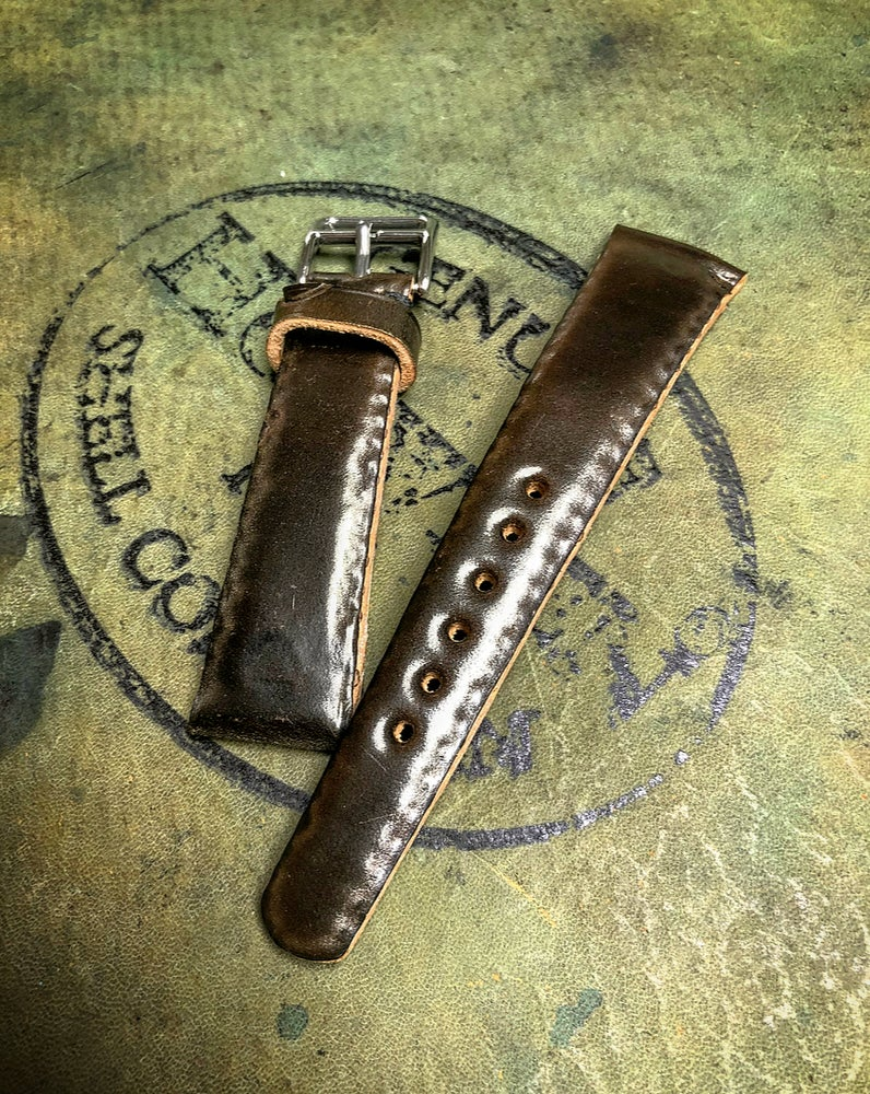 Image of Cognac SECRET STITCHING Horween Shell Cordovan watch strap