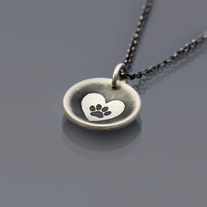 Image of Sterling Silver Heart Paw Saucer Necklace
