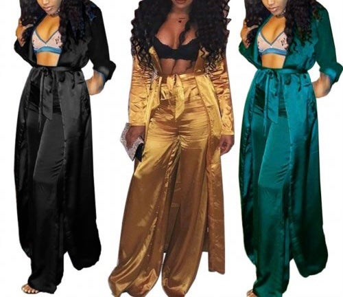 "Image of ""Creep"" Satin Pant & Duster Set"