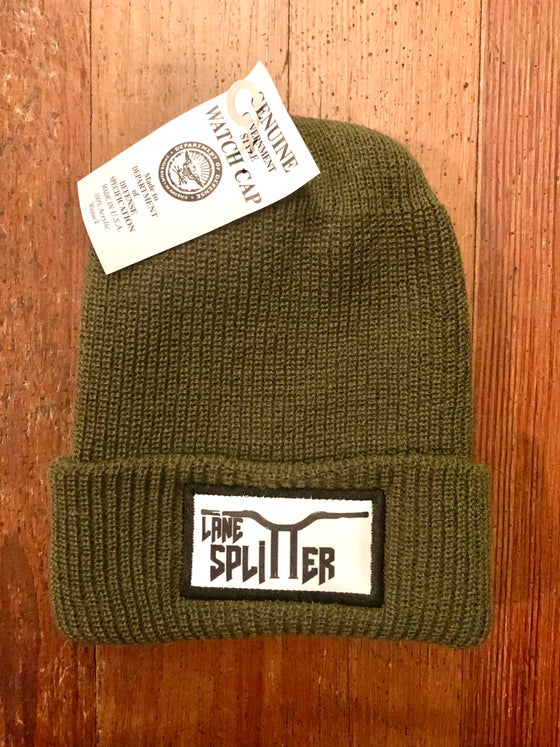 Image of Military green logo beanie