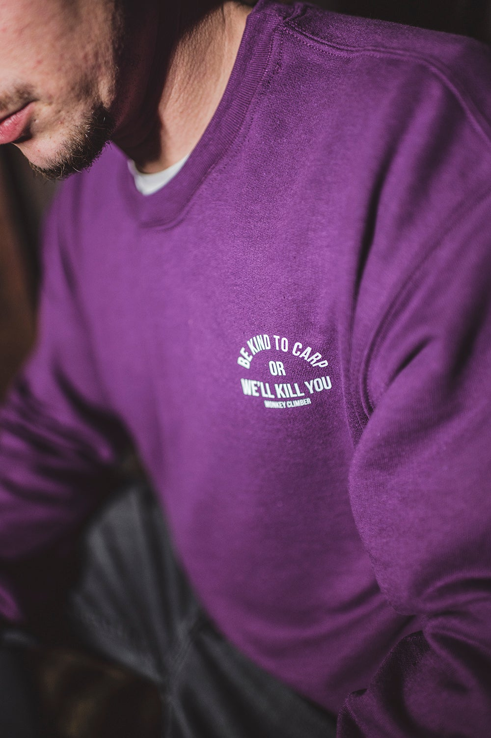 Image of Monkey Climber Be Kind minimal crewneck I Purple