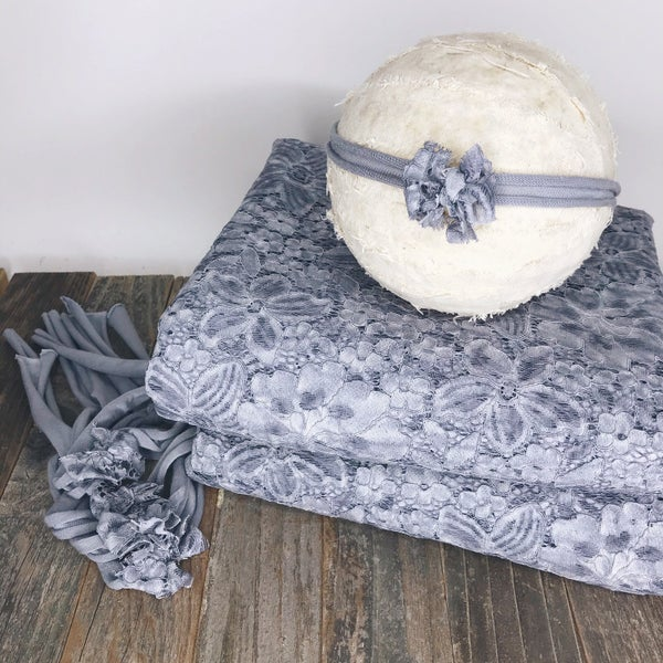 Image of Grey/Lavender Vintage Lace Fabric starting at