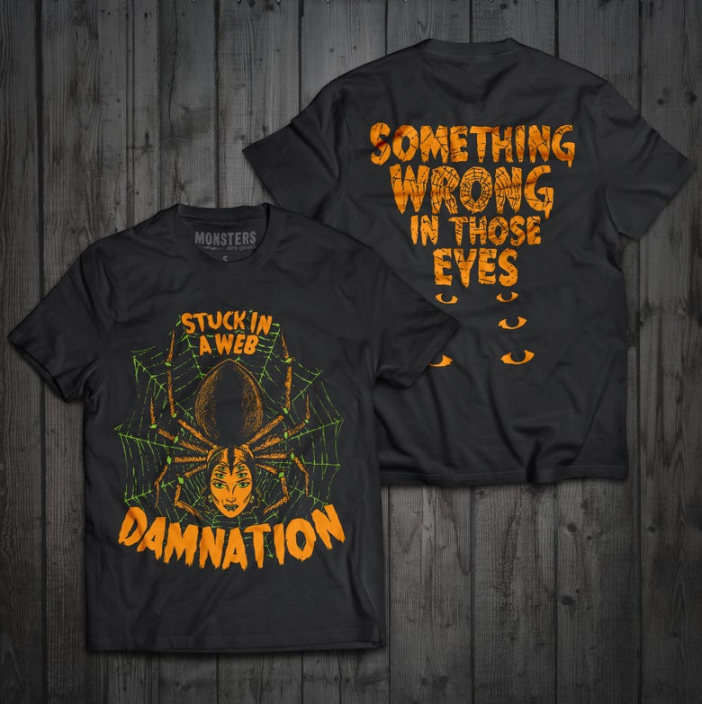 "Image of 2019 limited ""Stuck in a web"" Halloween tshirt"