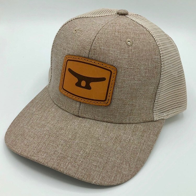 Image of Brown leather patch/slate beige cap