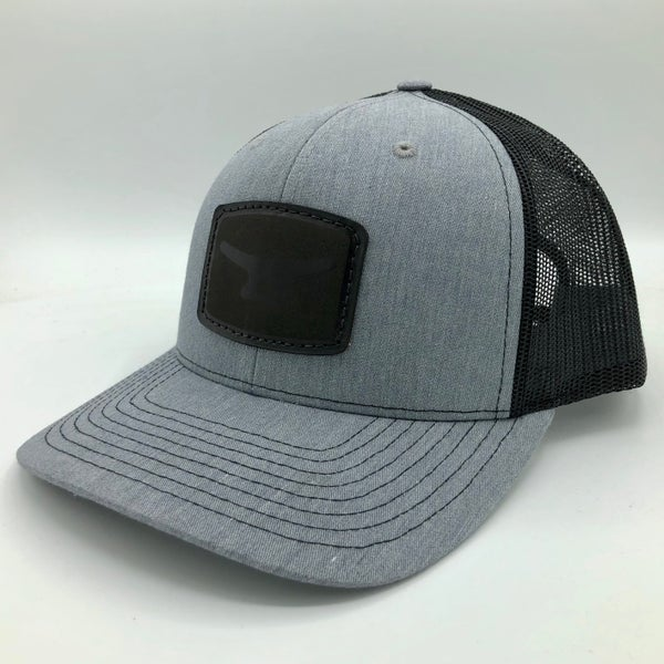 Image of Black leather patch/ heather grey/ black cap