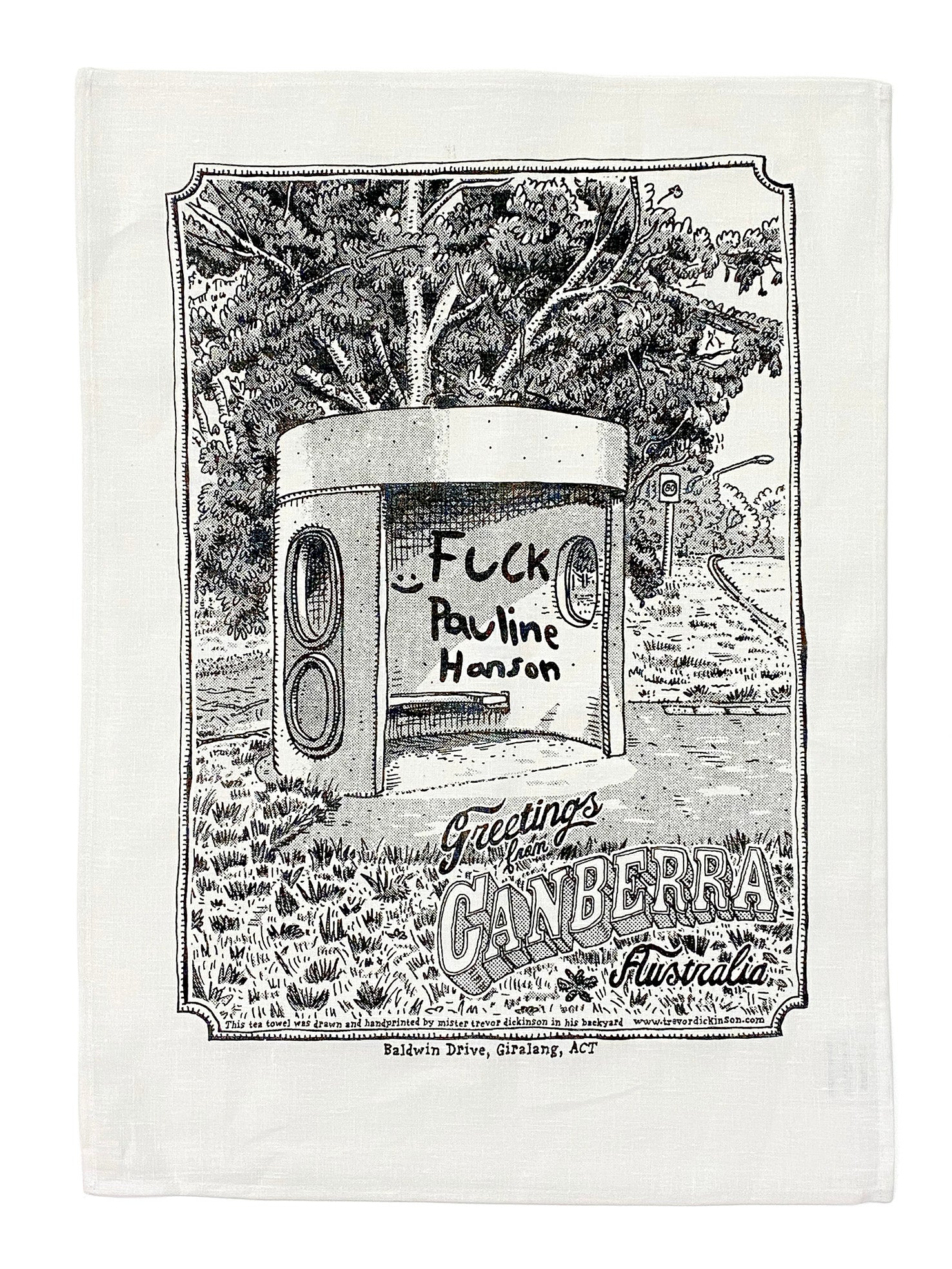 Image of Giralang Bus Shelter Tea Towel with a free signed and numbered digital print.