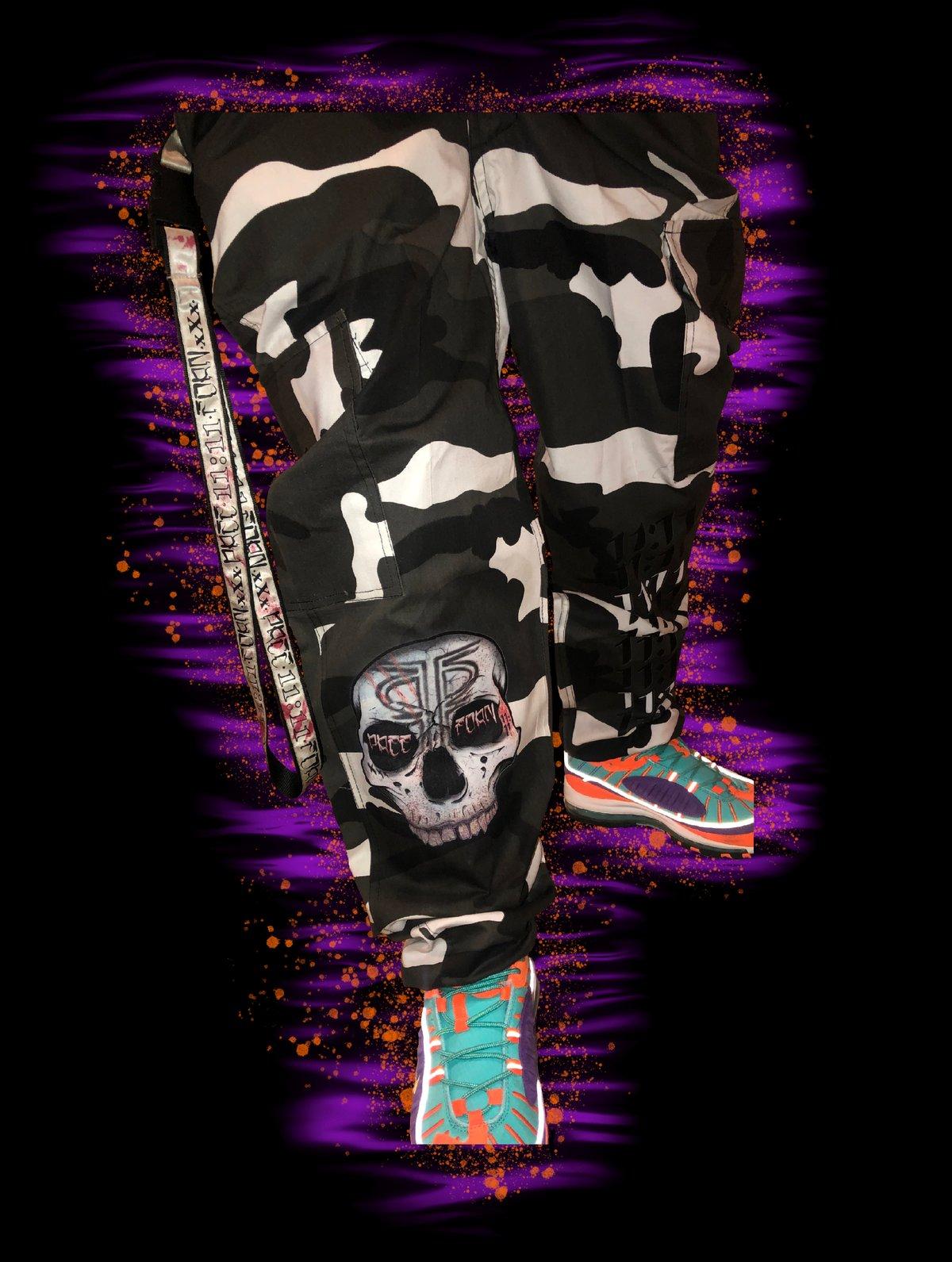 Image of *!! AzTec skull & 11:11 Leg print camouflage pants !!* (shotgun shell buttons)!!*
