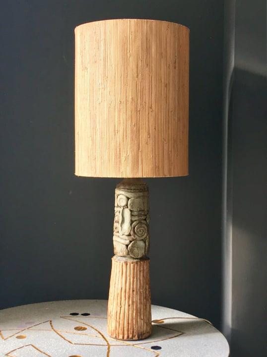Image of Large Studio Ceramic Lamp in Natural Tones by Bernard Rooke