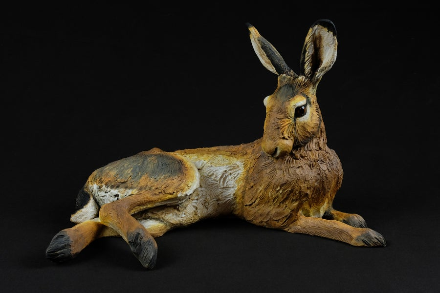 Image of KAREN FAWCETT 'LAYING HARE' CERAMIC SCULPTURE