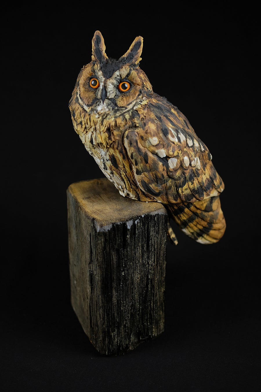 Image of KAREN FAWCETT 'LONG EARRED OWL' CERAMIC SCULPTURE