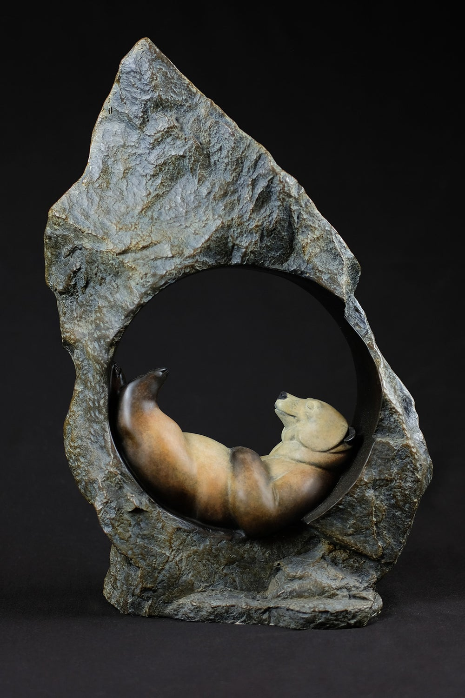 Image of DAVID MEREDITH 'ROCKY MOUNTAIN DREAMING' BRONZE BEAR SCULPTURE