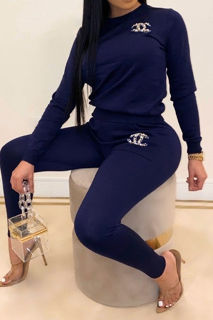 Image of Chanel Inspired Pants Set (Navy)