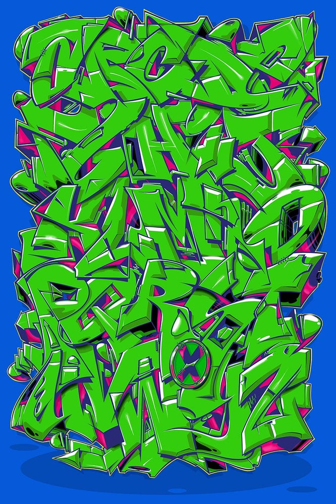 "Image of Alphabet ""Wildstyle 1"" - Bright Green"