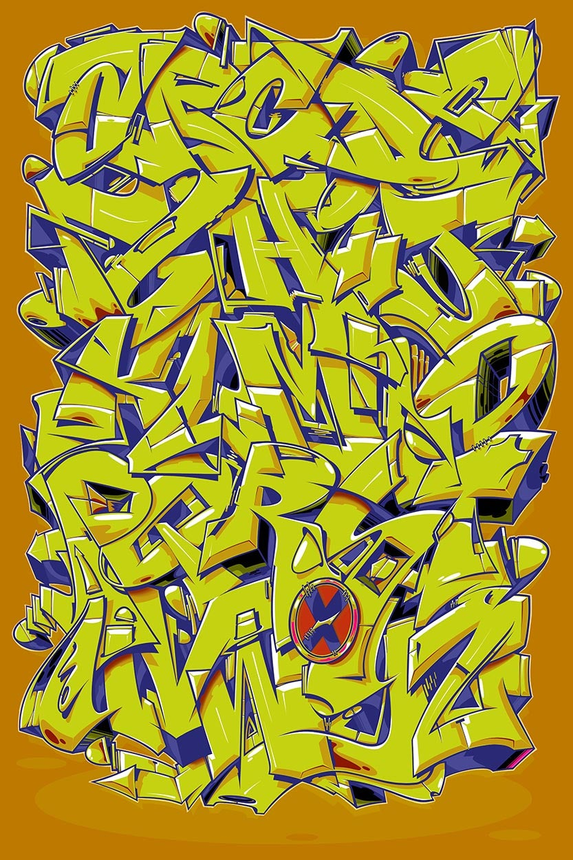"Image of Alphabet ""Wildstyle 1"" - Ochre"