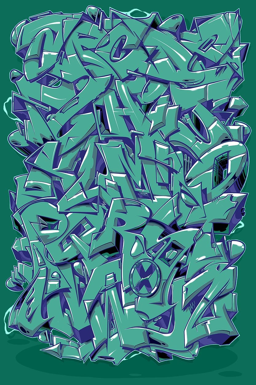 "Image of Alphabet ""Wildstyle 1"" - Turquoise"