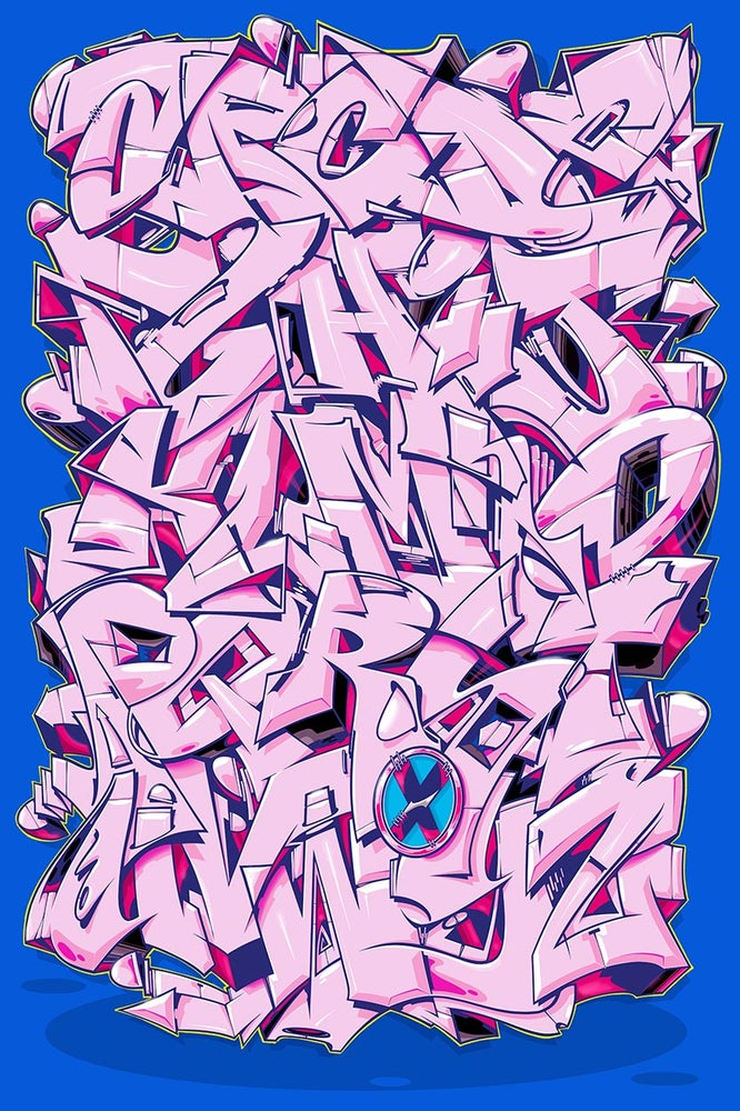 "Image of Alphabet ""Wildstyle 1"" - Rose-Red"
