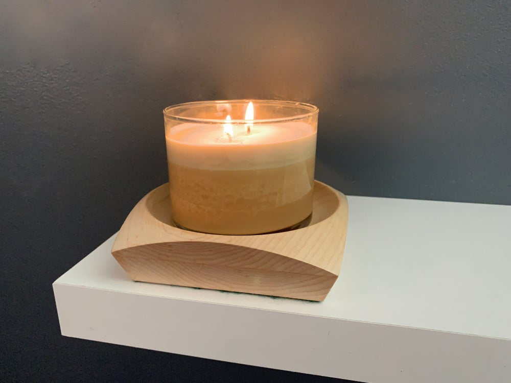 Image of Handmade, Handcrafted, Maple Wood Turned Candle Tray,  Shallow Bowl