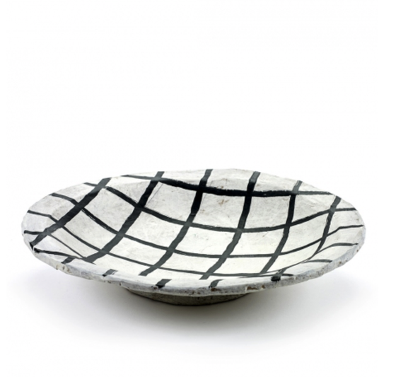 Image of Grid pattern papier mache plate (large)