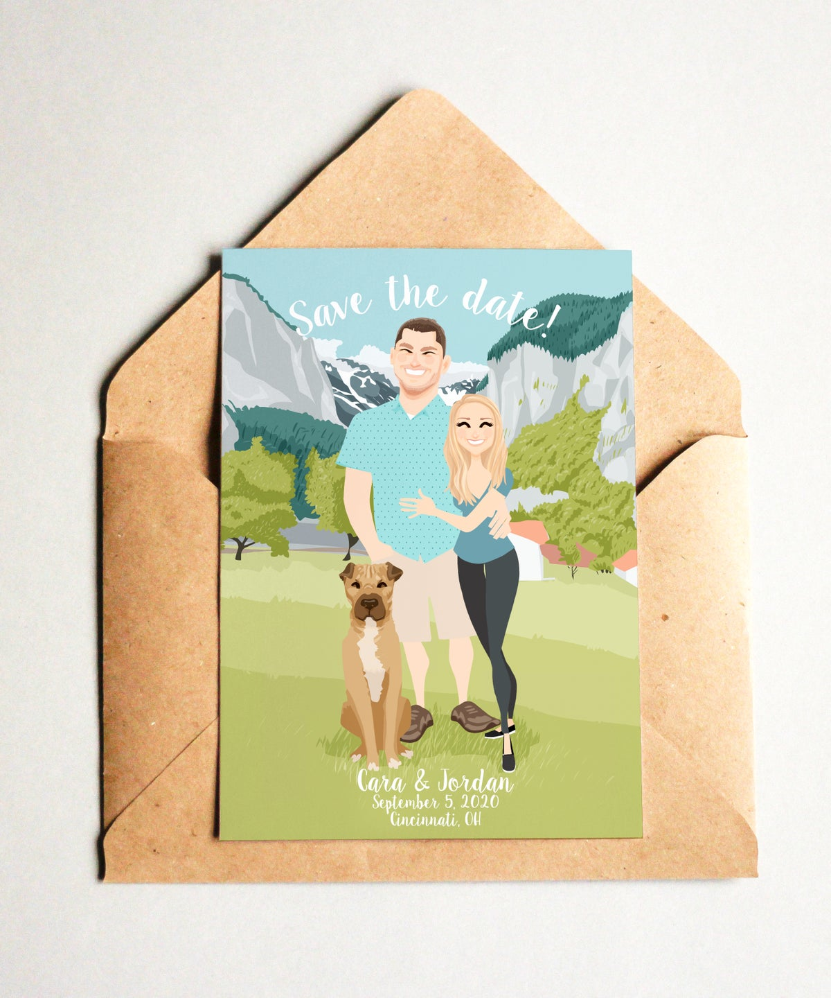 Image of Custom Save the Date with detailed background