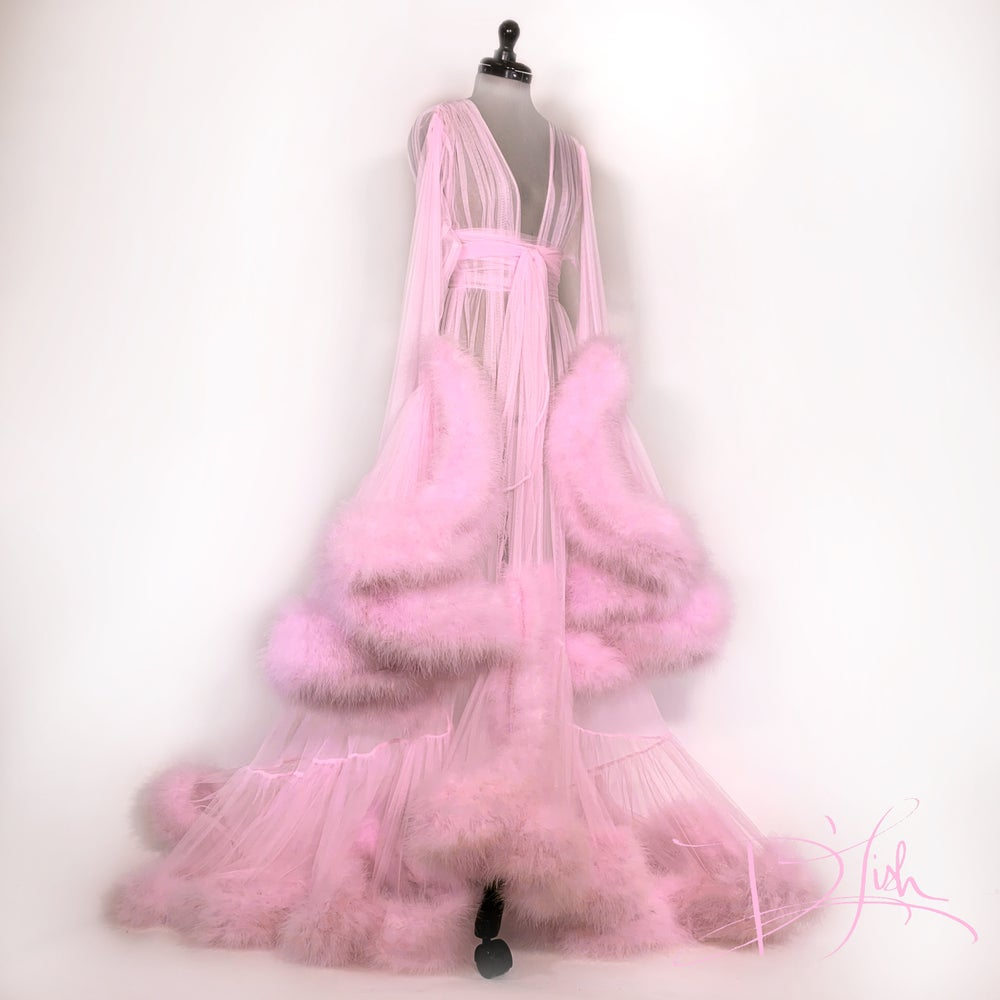 """Image of """"Cassandra"""" Pink Marabou Dressing Gown"""