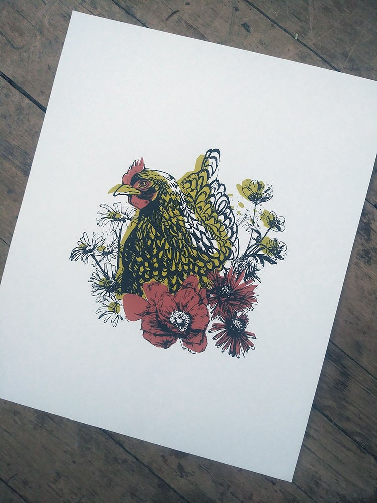 Image of Hen in Flowers