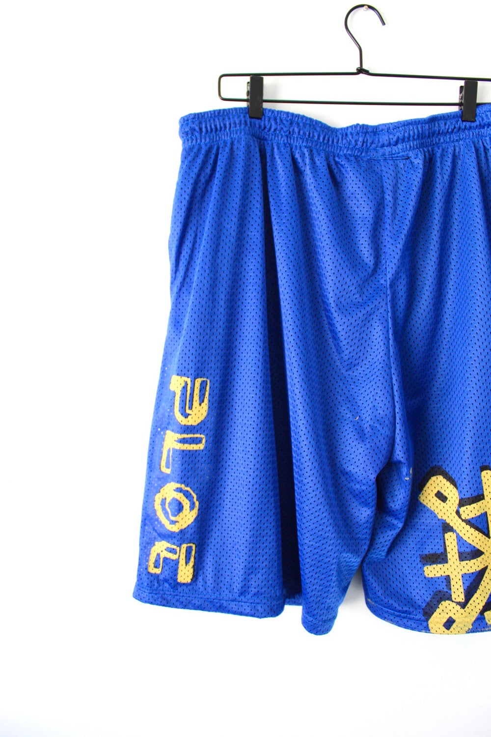 not playing fair bball shorts in blue