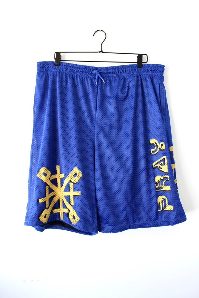 Image of not playing fair bball shorts in blue