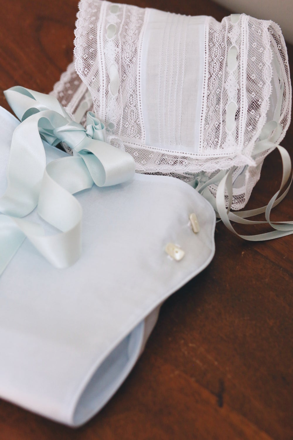 Image of Ready-To-Ship French Lace Bonnet & Lace Bloomer Set