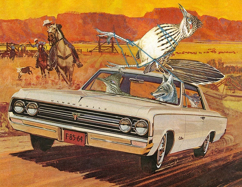 Image of Roadrunner roundup. Limited edition collage print.