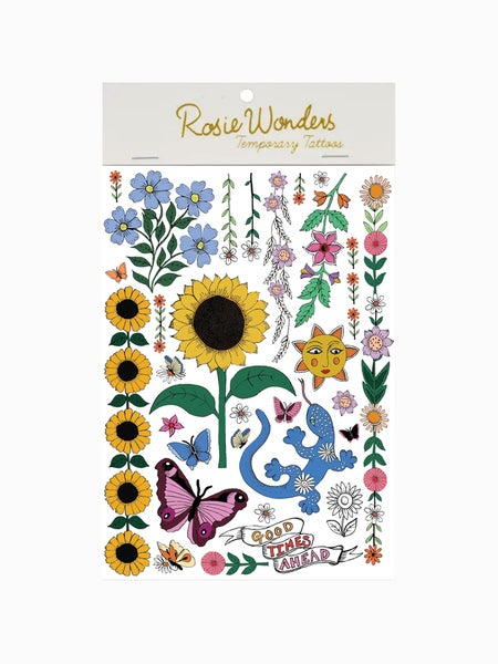 Image of Sunflower A6 Temporary Tattoos