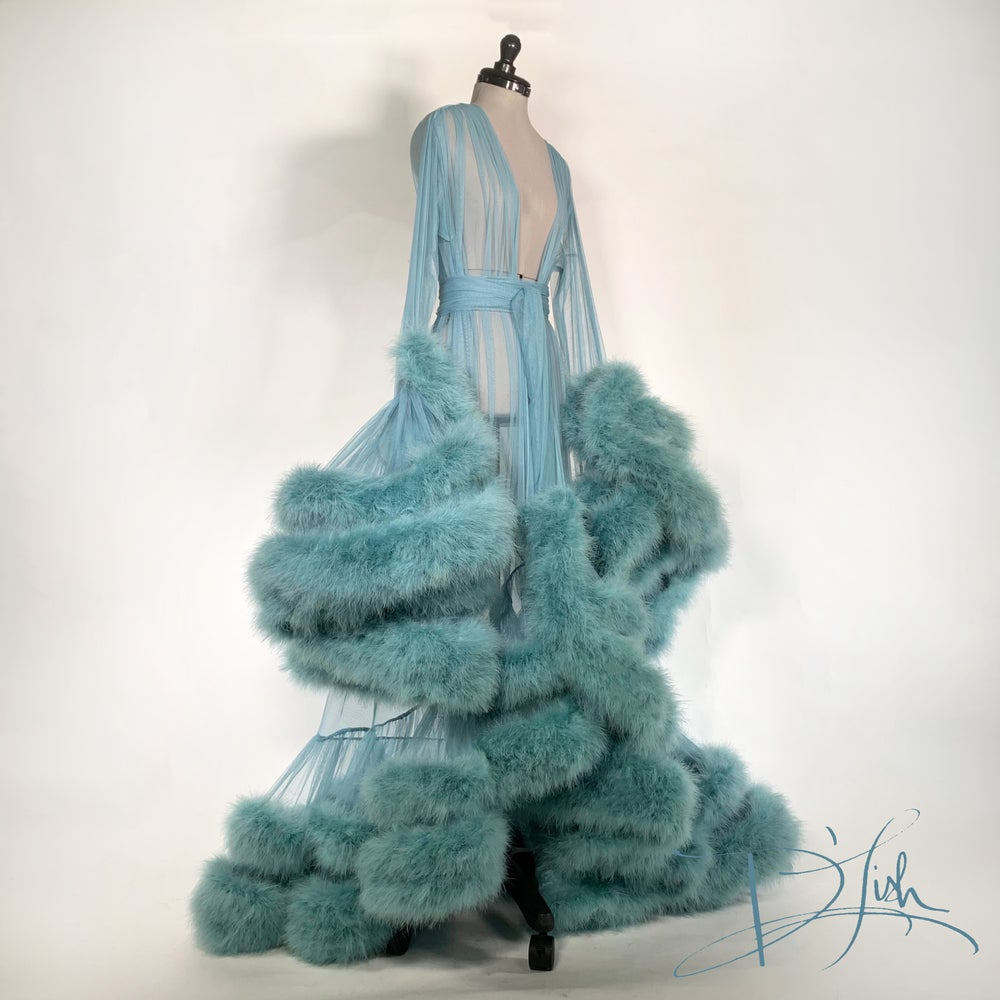 """Image of Double Deluxe Blue Slate """"Cassandra"""" Dressing Gown"""