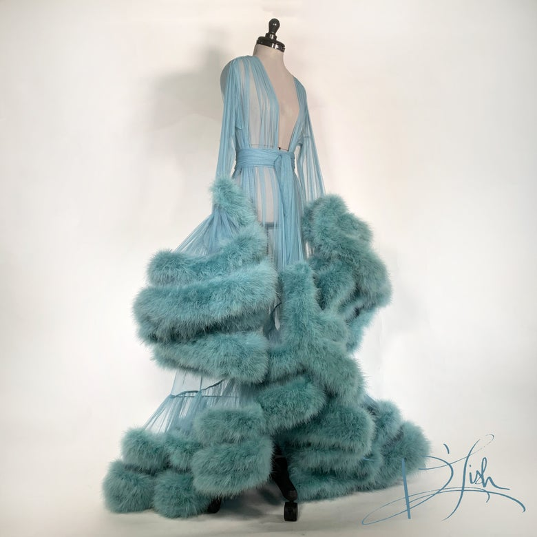 "Image of Double Deluxe Blue Slate ""Cassandra"" Dressing Gown"