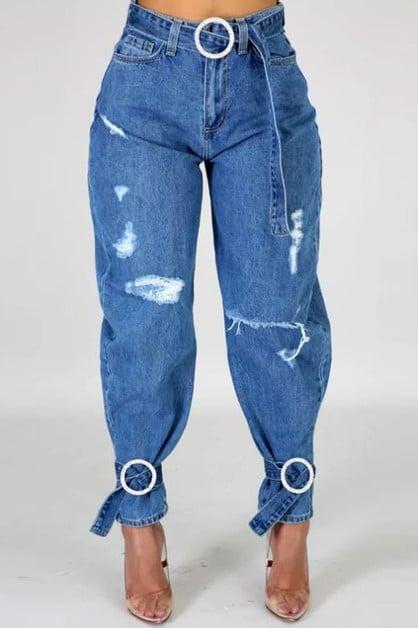 Image of Rhinestone Belts and Denim Pants