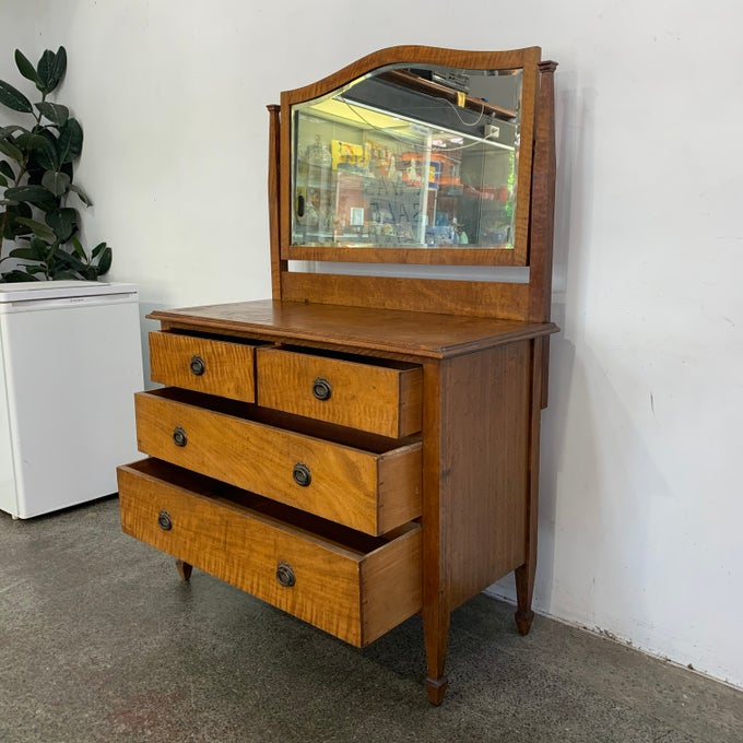 Image of 1930s SILKY OAK DRESSER