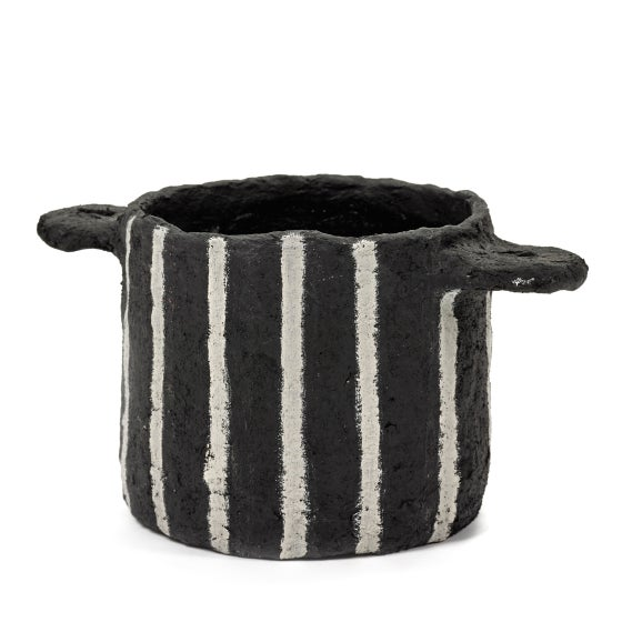 Image of Black papier mache pot with vertical stripes