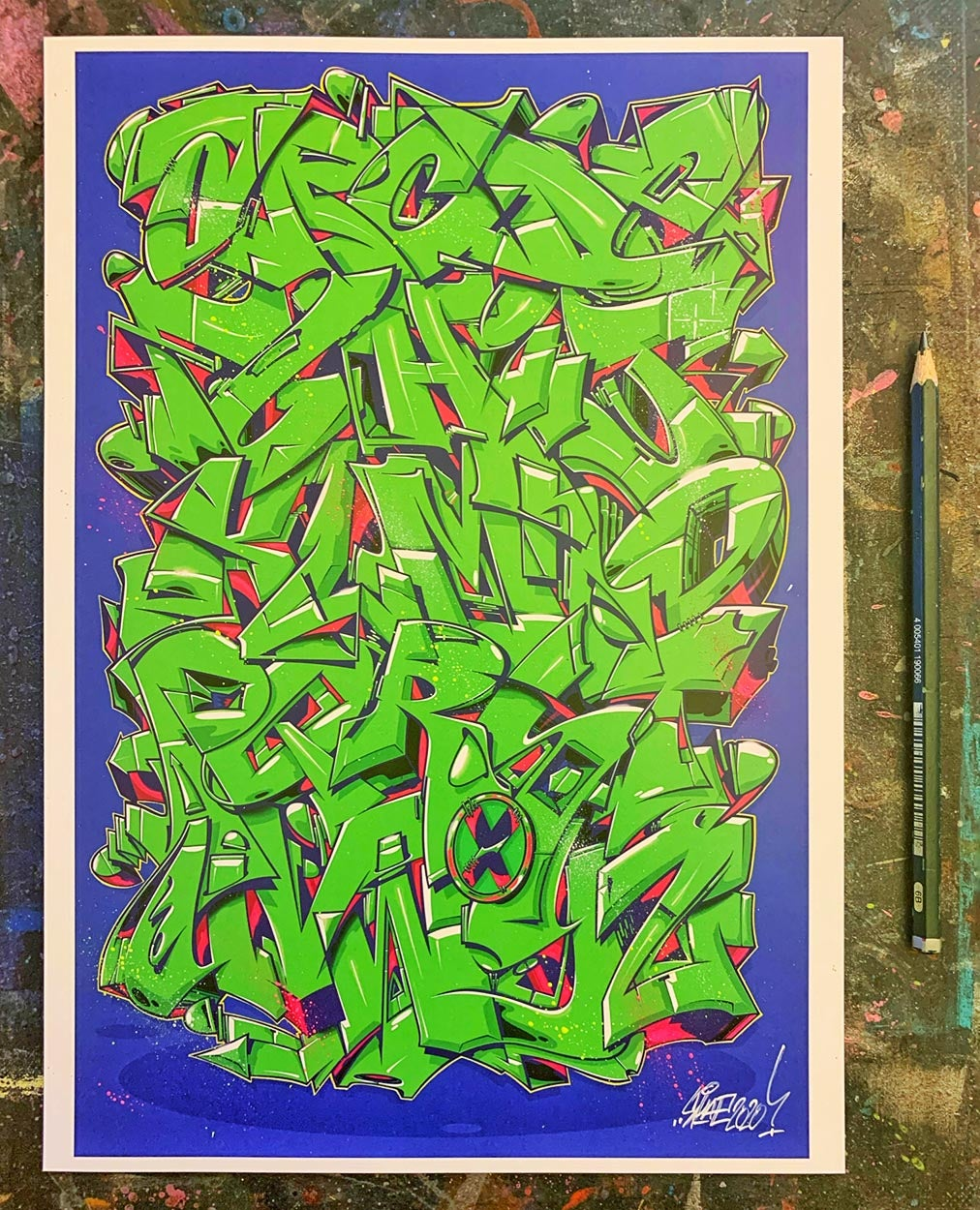 "Image of Alphabet ""WILDSTYLE 1"" - Bright Green A4 hand-finished"